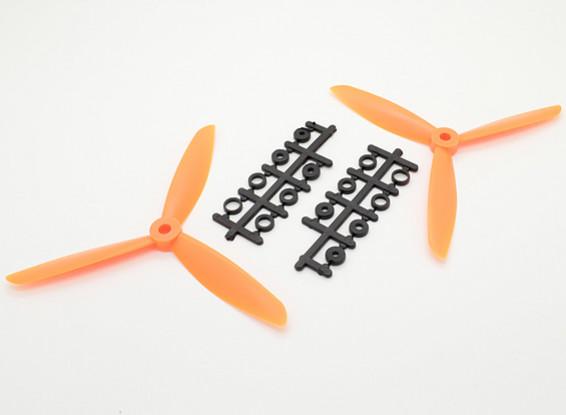 Hobbyking ™ 3 pala de la hélice 6x4.5 Orange (CW / CCW) (2pcs)