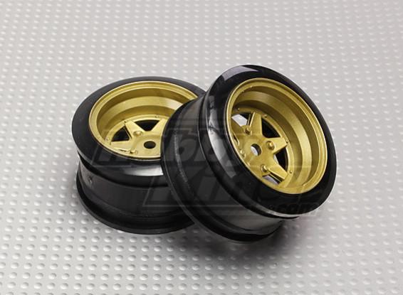 Escala 1:10 26mm Juego de ruedas (2pcs) de bronce y 6 Rayos del coche de RC