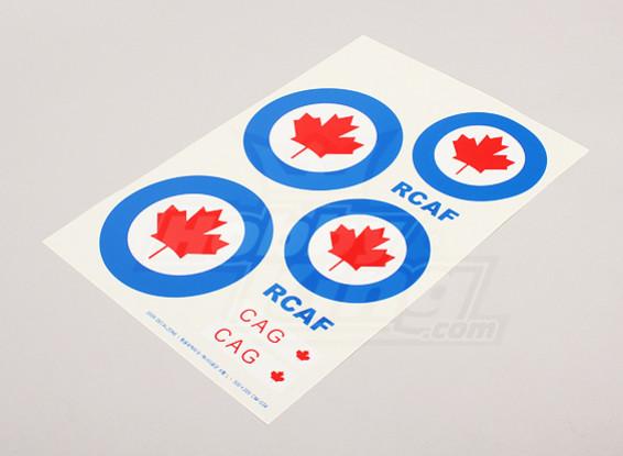 Escala de la hoja de la Fuerza Aérea Nacional insignias Decal - Canadá (grande)