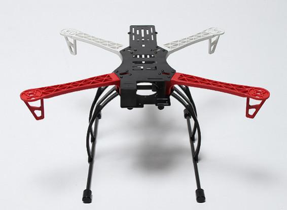 Marco REPTILE500-V3 Quad-Helicóptero con el engranaje de cangrejo Landing (blanco / rojo)