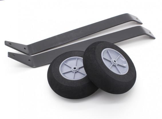 Aleación de tren de aterrizaje con ruedas para modelos tipo de perfil (1 juego)