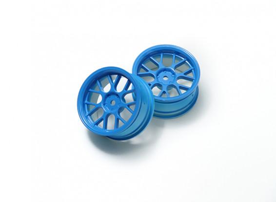 """01:10 Juego de ruedas """"Y"""" y 7 rayos fluorescente azul (3 mm Offset)"""