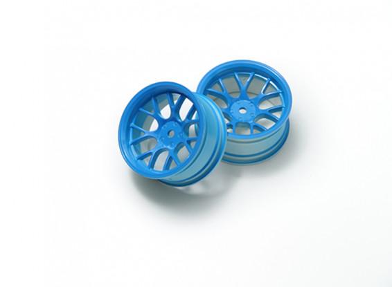 """01:10 Juego de ruedas """"Y"""" y 7 rayos fluorescente azul (6 mm Offset)"""