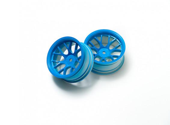 """01:10 Juego de ruedas """"Y"""" y 7 rayos fluorescente azul (9 mm Offset)"""
