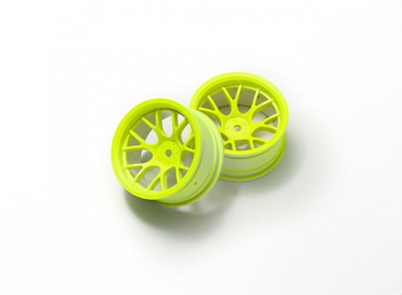 """01:10 Juego de ruedas """"Y"""" y 7 rayos amarillo fluorescente (9 mm Offset)"""