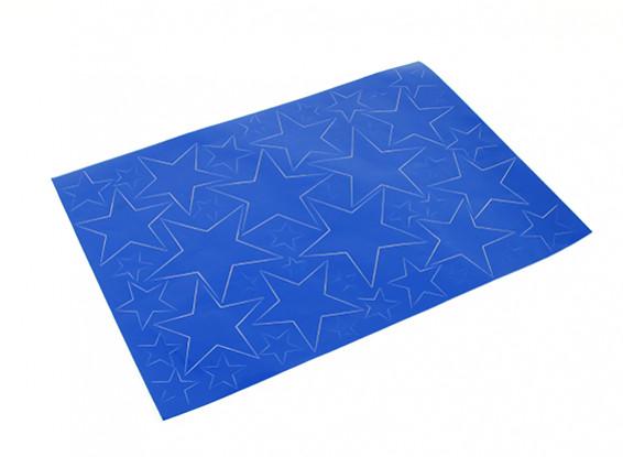 Modelo de estrella auto-adhesivo del sistema de la etiqueta 420 x 300 mm (azul) (1 unidad)