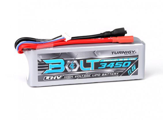 Perno Turnigy 3450mAh 3S 11.4V 65 ~ 130C alto voltaje Lipo Pack (LiHV)