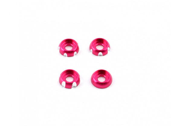 3 mm de aluminio CNC cabeza redonda Lavadora - rosas (4pcs)