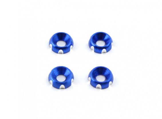 3 mm de aluminio CNC avellanada Lavadora - Deep Blue (4pcs)