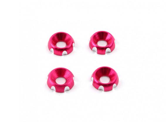 3 mm de aluminio CNC avellanada Lavadora - rosas (4pcs)
