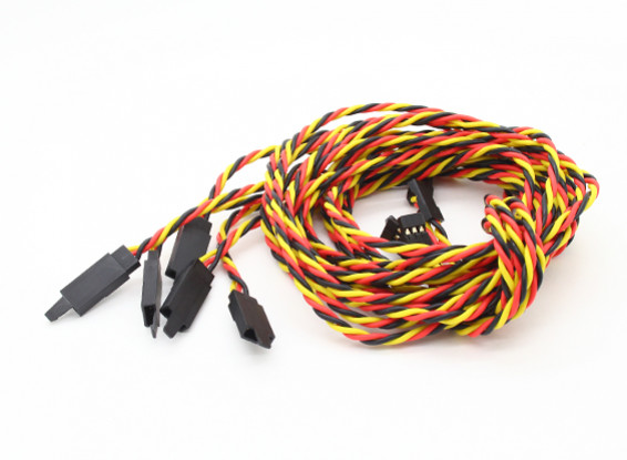 Twisted 100cm Servo Extensión de plomo (JR) con el gancho 22 AWG (5pcs / bolsa)