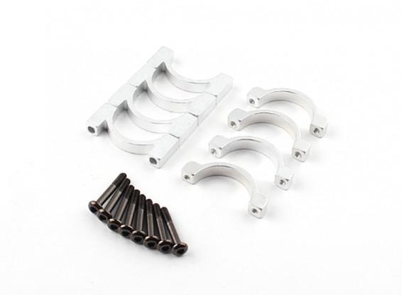 Plata anodizado CNC de doble cara de aluminio tubo de sujeción 20 mm Diámetro