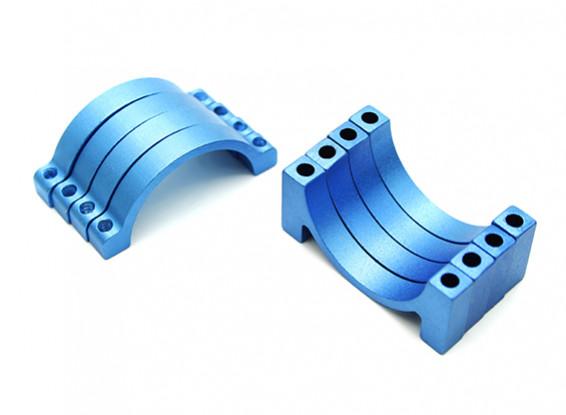 Azul anodizado CNC de aluminio de 5 mm 25 mm Diámetro del tubo de sujeción (juego de 4)