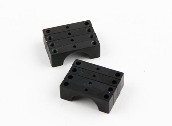Negro anodizado de doble cara CNC de aluminio tubo de sujeción 14 mm Diámetro