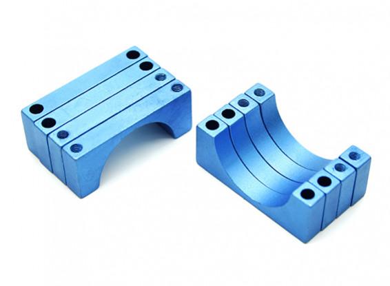 Azul anodizado de doble cara CNC de aluminio tubo de sujeción 20 mm de diámetro (juego de 4)