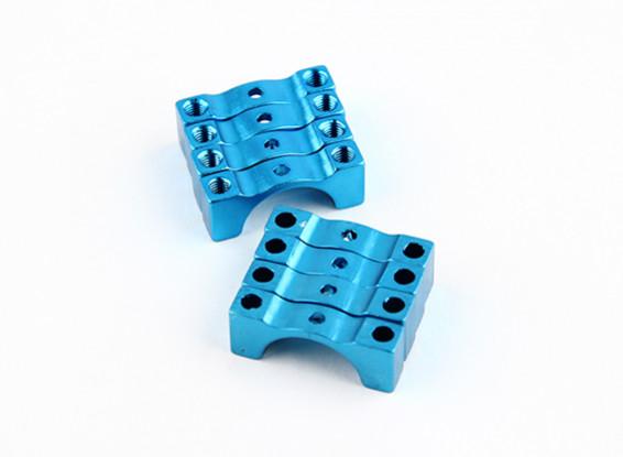 Azul anodizado de doble cara CNC de aluminio tubo de sujeción 12 mm Diámetro