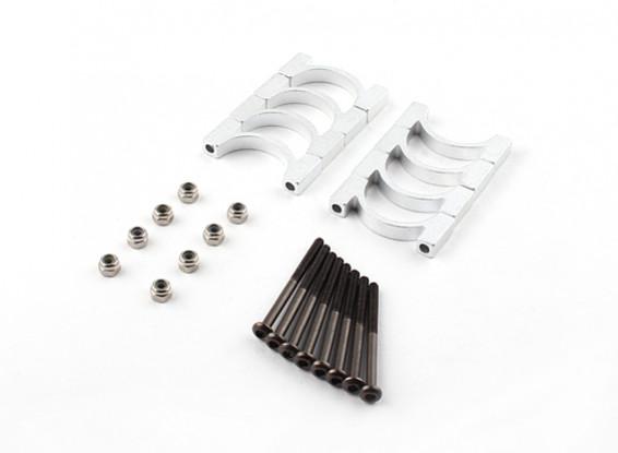 Plata anodizado CNC de la aleación de tubo de sujeción 20 mm de diámetro (4set)
