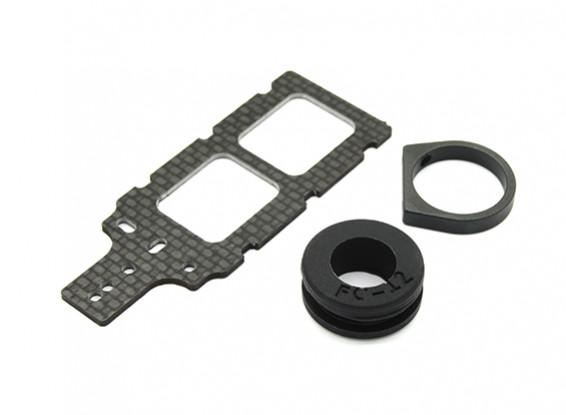 Transmisor de montaje de carbono FPV con caucho amortiguador se adapta a 12mm Plumas