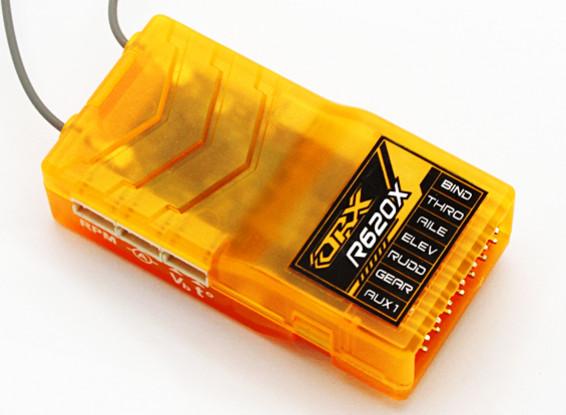OrangeRx R620X 6Ch 2,4 GHz DSM2 / DSMX CompFullRangeRx w / SatDivAnt, F / Safe & S.Bus