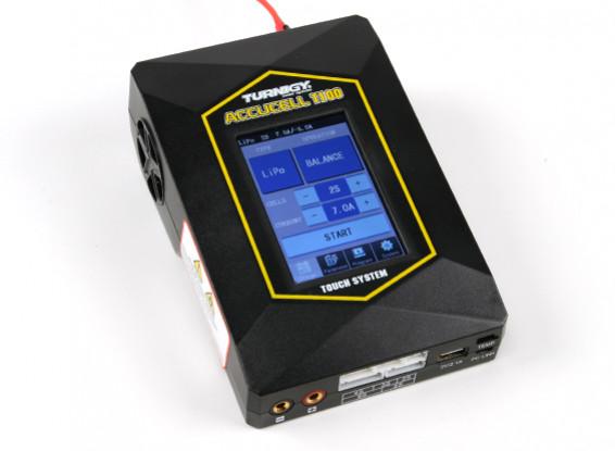 Turnigy T100 multifunción de la pantalla táctil del cargador de batería (enchufe UK)