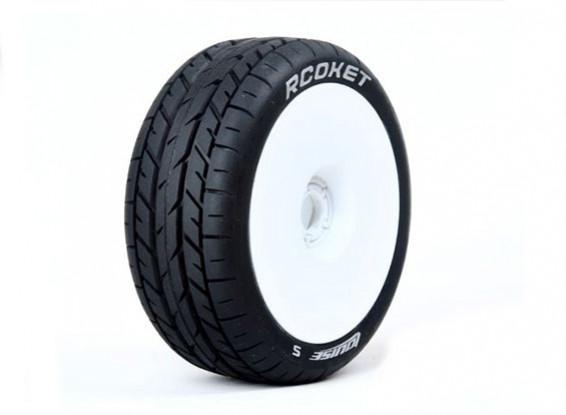 Louise B-ROCKET escala 1/8 Buggy neumáticos de compuesto blando / del borde blanco / Montado