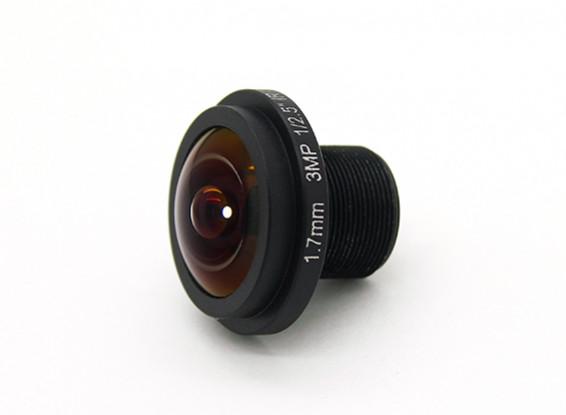 """1.7mm Lente Gran Angular, F2.0, montaje 12x0.5, Tamaño del CCD 1/3 """", ángulo de 185 °"""