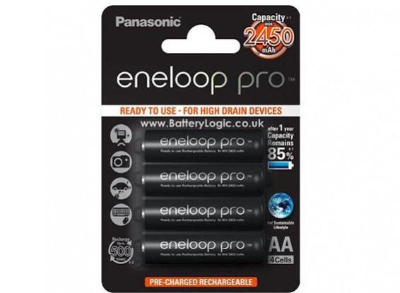Panasonic Pro Eneloop AA 2450mAh de la batería de NiMH (paquete de 4)