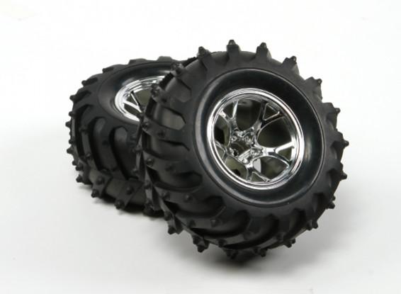 HobbyKing ® ™ 1/10 orugas y Monster Truck 125mm rueda y del neumático (llanta de plata) (2pcs)