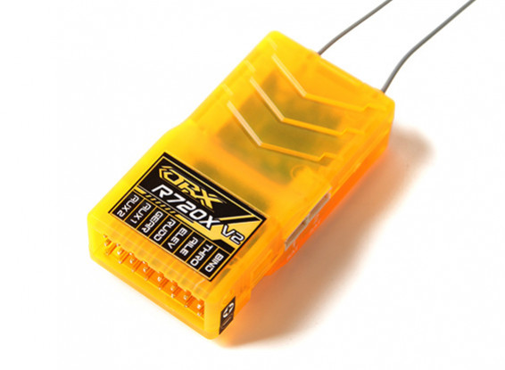 OrangeRx R720X V2 7Ch 2.4GHz DSM2/DSMX Comp Full Range Rx w/Div Ant, F/Safe & CPPM