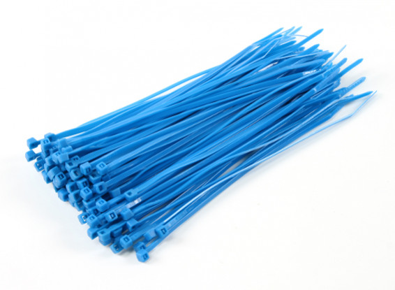 Sujetacables de 200 mm x 4 mm azules (100 piezas)