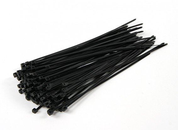 Sujetacables de 200 mm x 4 mm Negro (100 piezas)