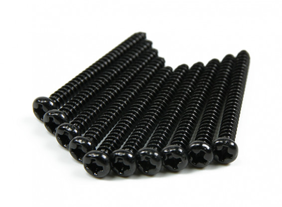 Screw Round Head Phillips M3x32mm Self Tapping Steel Black (10pcs)