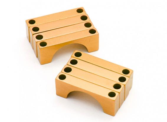 El oro anodizado CNC semicírculo aleación de tubo de sujeción (incl.screws) 28mm