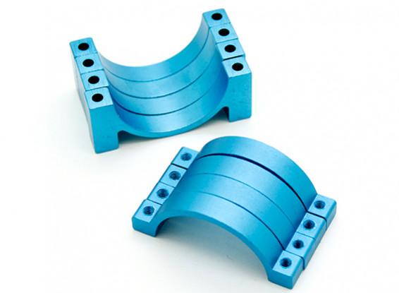 Azul anodizado CNC abrazadera de tubo de aleación semicírculo (incl.screws) 15mm