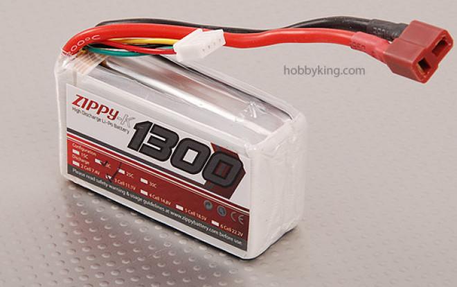 Zippy-K 1300 paquete de 3S1P 20C Lipo