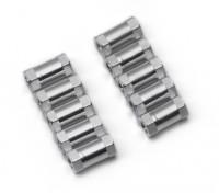 Ligera Ronda de aluminio Sección espaciador M3x10mm (plata) (10 piezas)