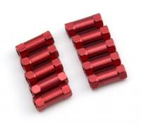 Ligera Ronda de aluminio Sección espaciador M3x13mm (rojo) (10 piezas)