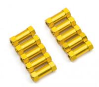 Ligera Ronda de aluminio Sección espaciador M3x13mm (oro) (10 piezas)