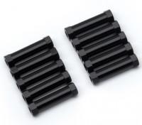 Ligera Ronda de aluminio Sección espaciador M3x20mm (Negro) (10 piezas)