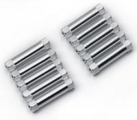 Ligera Ronda de aluminio Sección espaciador M3x22mm (plata) (10 piezas)