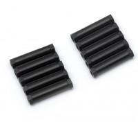 Ligera Ronda de aluminio Sección espaciador M3x24mm (Negro) (10 piezas)