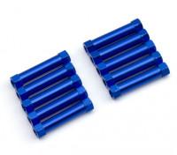 Ligera Ronda de aluminio Sección espaciador M3x24mm (azul) (10 piezas)