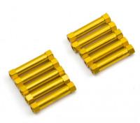 Ligera Ronda de aluminio Sección espaciador M3x24mm (oro) (10 piezas)
