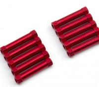 Ligera Ronda de aluminio Sección espaciador M3x25mm (rojo) (10 piezas)