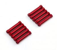 Ligera Ronda de aluminio Sección espaciador M3x26mm (rojo) (10 piezas)