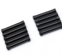 Ligera Ronda de aluminio Sección espaciador M3x29mm (Negro) (10 piezas)