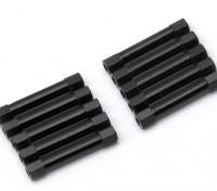 Ligera Ronda de aluminio Sección espaciador M3x30mm (Negro) (10 piezas)