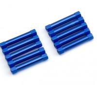 Ligera Ronda de aluminio Sección espaciador M3x30mm (azul) (10 piezas)
