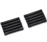 Ligera Ronda de aluminio Sección espaciador M3x37mm (Negro) (10 piezas)