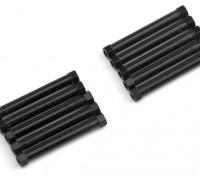 Ligera Ronda de aluminio Sección espaciador M3x38mm (Negro) (10 piezas)
